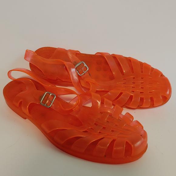 8e5b3b399ecb0 Vintage Retro 80's Orange Jelly Sandals